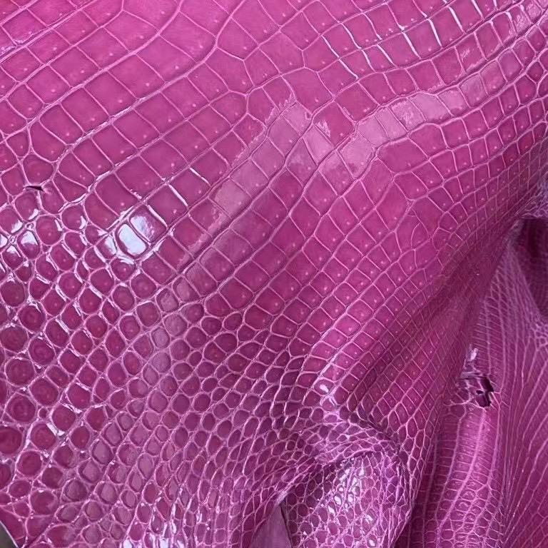 Hermes 5J Fuschia Pink 桃粉色 亮面 倒V 灣鱷 Shiny Porosus Crocodile