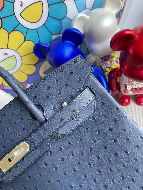 Hermes Birkin 30cm Ostrich 7L Blue de 馬耳他藍原廠KK 南非鴕鳥皮 銀扣