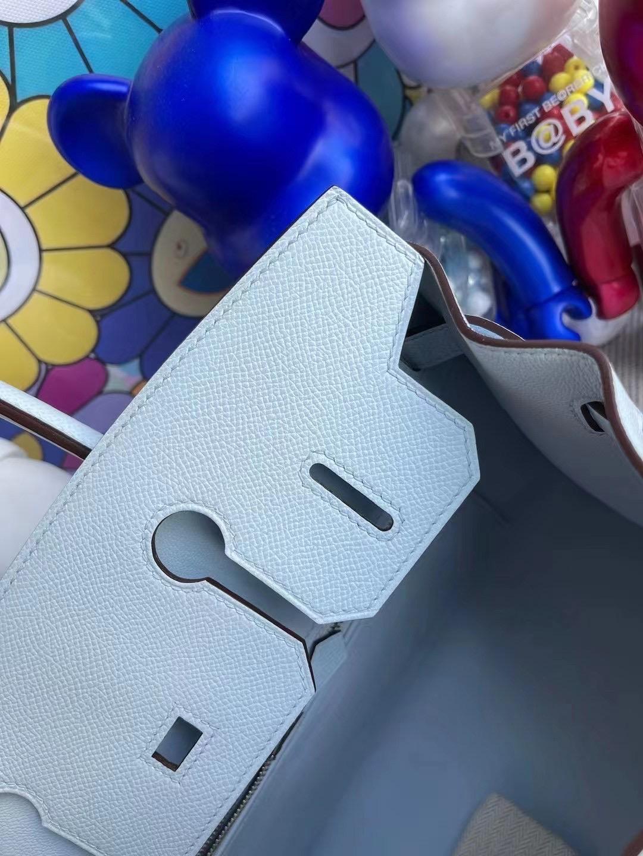 香港島中西區半山 Hermes Birkin 30 外縫 Epsom T0 Blue Brume 霧藍色 銀扣