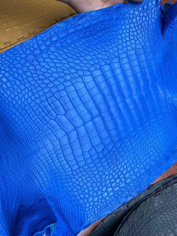 愛馬仕皮革有幾種材質 Hermes 7Q Blue Mykonos 希臘藍 霧面美洲鱷魚