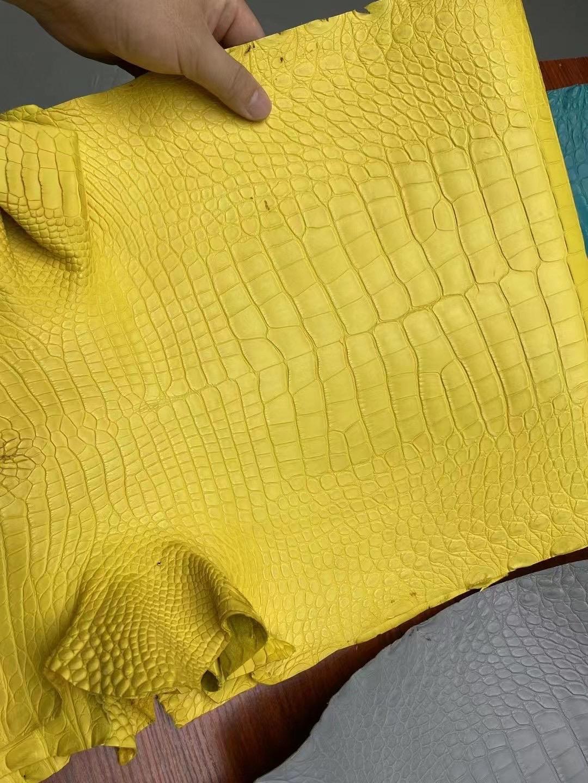 愛馬仕皮革分類 Hermes 9R lemon 檸檬黃 霧面方塊 美洲鱷魚