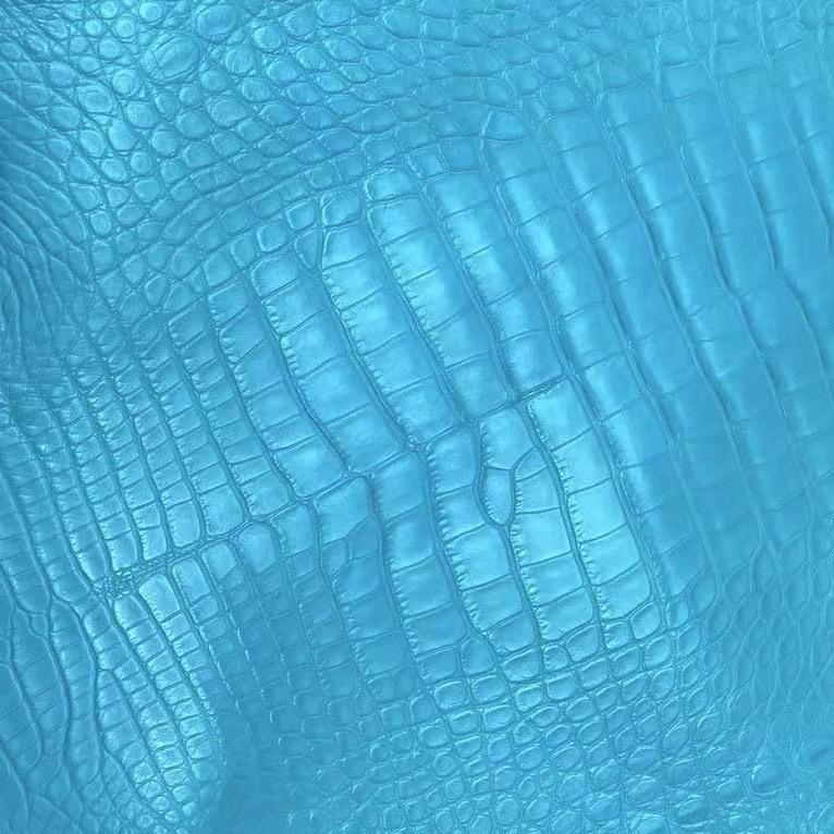 愛馬仕包的皮料有哪些 Hermes 7F Blue Paon 孔雀藍 霧面美洲鱷魚