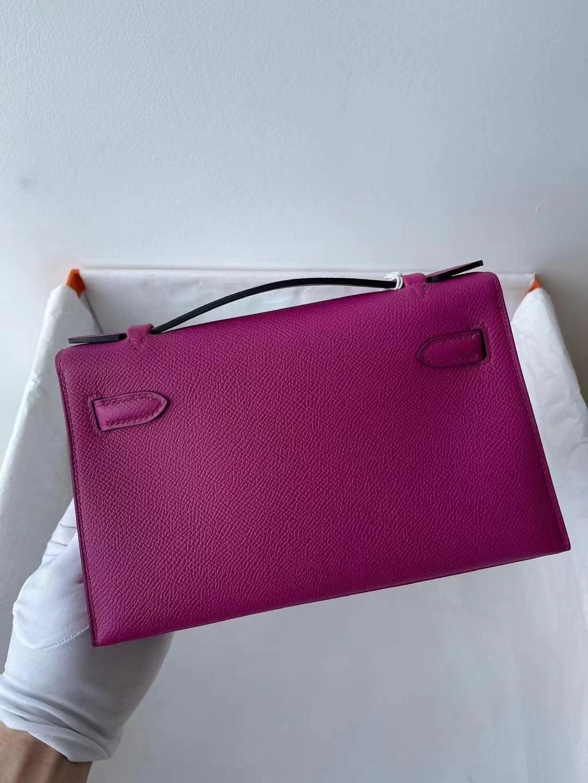 Hermes MiniKelly Pochette R2 Blue agate L3 Rose Purple K4 Rose Dete