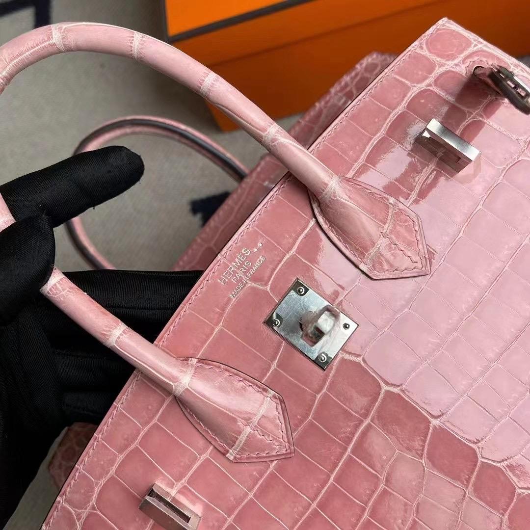 Hermes Birkin 25cm 1Q Rose Confetti 奶昔粉 亮面尼羅鱷魚銀扣