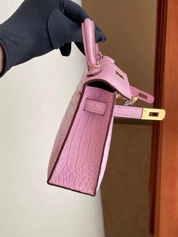愛馬仕迷你凱莉二代價格 Hermes Kelly Mini II 2代 5P Pink 櫻花粉霧面方塊 美洲鱷魚