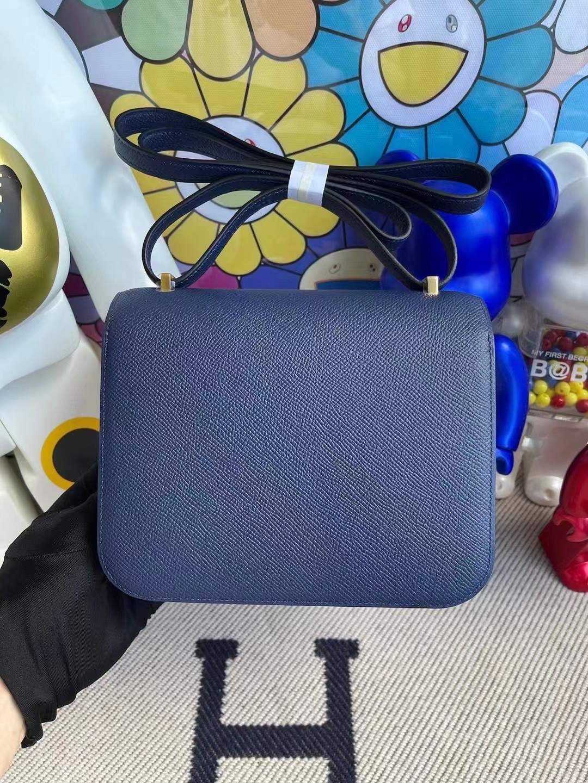 愛馬仕康康包專櫃多少錢 Hermes Constance 19 Epsom 73 Bleu Saphir 寶石藍 金扣