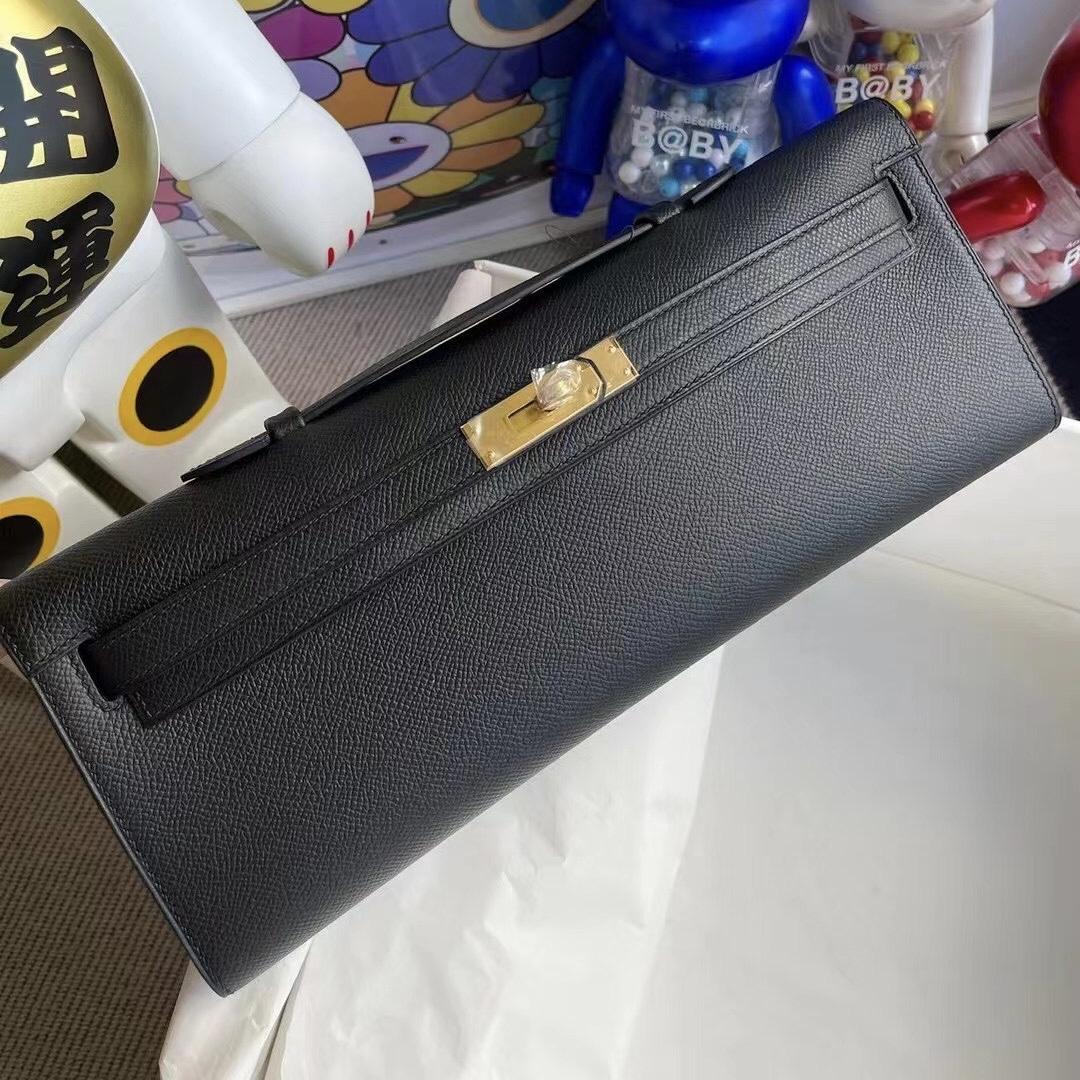 愛馬仕手拿晚宴包 Hermes Kelly cut Pochette Epsom 89 Noir 黑色 金扣