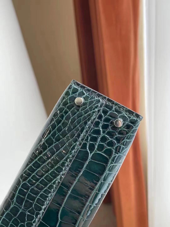 愛馬仕迷你凱莉二代價格 Hermes Kelly Mini II 2代 6O Vert Cypres松柏綠亮面美洲鱷魚