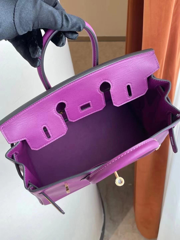 愛馬仕鉑金包 Birkin 25cm P9 Anemone 海葵紫 Swift calfskin 皮金扣