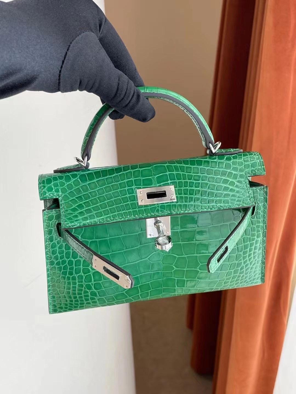 愛馬仕迷你凱莉二代 Hermes Kelly Mini II 2代 1K bambou 竹子綠 銀扣 亮面美洲鱷魚