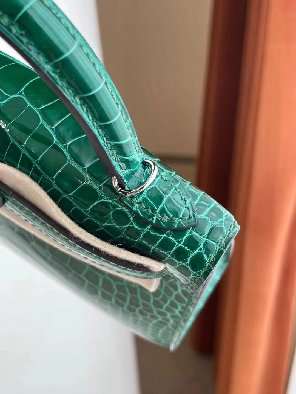 臺灣臺中市中區 愛馬仕迷你凱莉二代 Hermes Kelly Mini II 2代 銀扣 亮面美洲鱷魚