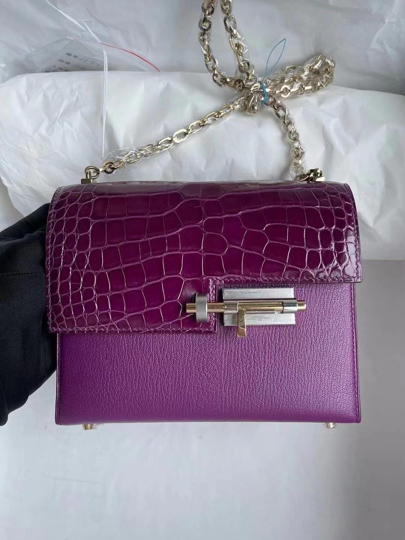 Hermes Verrou 17.5cm Touch N5 Cassis 加侖紫 山羊皮 拼亮面方塊 美洲鱷魚