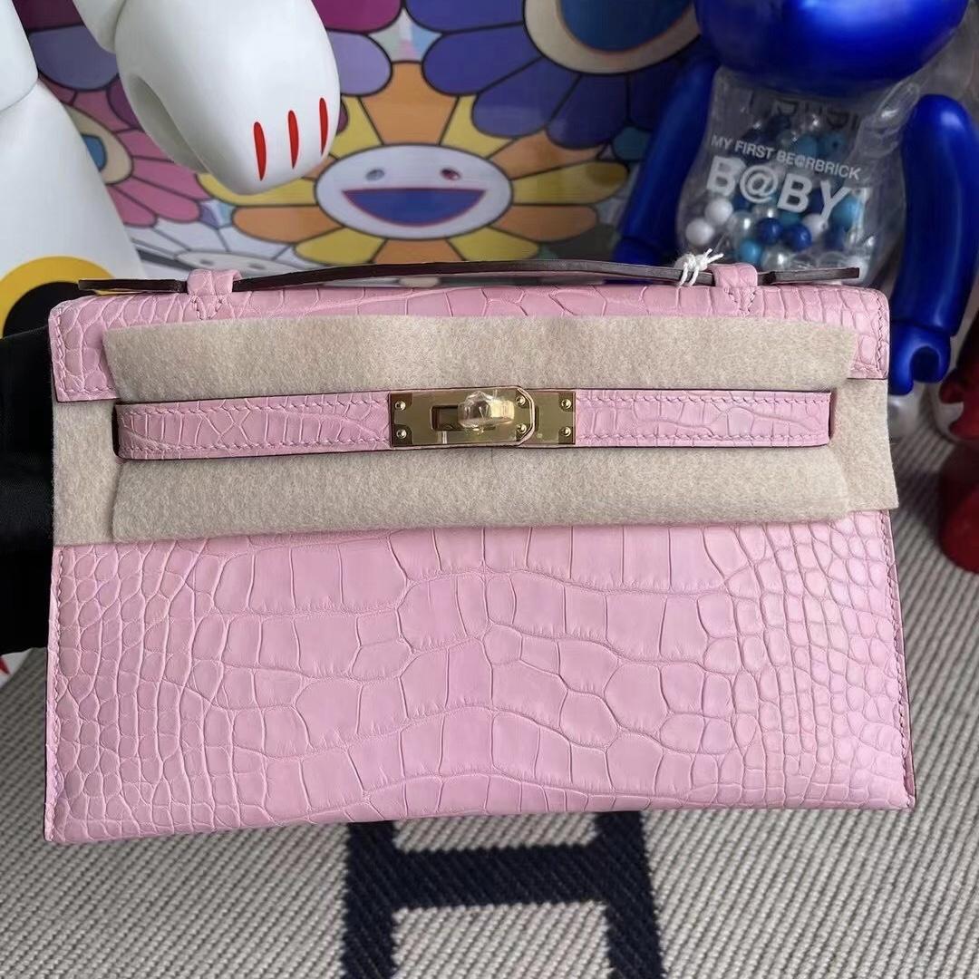 Hermes MiniKelly Pochette 5P Pink 櫻花粉 霧面美洲鱷魚 金扣
