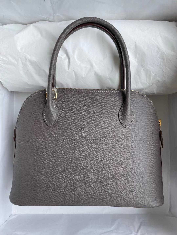 愛馬仕保齡球包價格 Hermes Bolide 27cm Epsom 8F 錫器灰 Etain 金扣