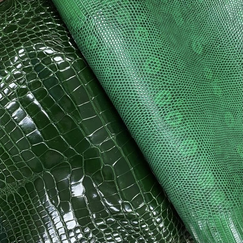 Hermes 67 Vert Fonce 祖母綠 亮面 美洲鱷魚 蜥蜴皮  Lizard