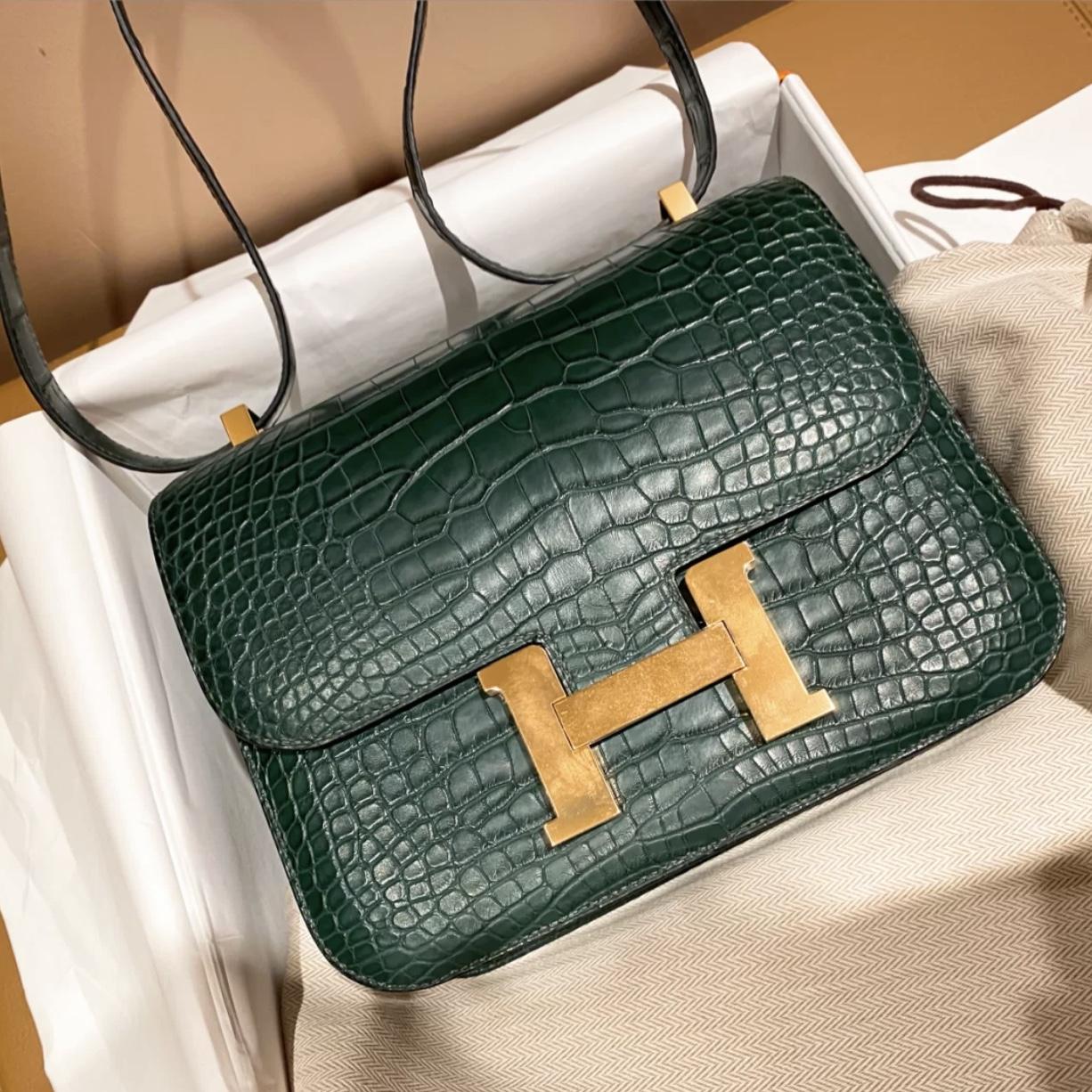 Hermes Constance 19cm 67 Vert Fonce 祖母綠 霧面方塊 美洲鱷魚