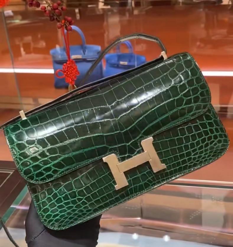 Hermes Constance Elan 26cm 67 Vert Fonce 祖母綠 亮面方塊美洲鱷魚
