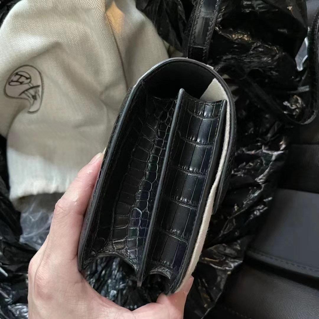Hermes Constance 19cm 89 Noir 黑色 金扣 霧面美洲鱷魚