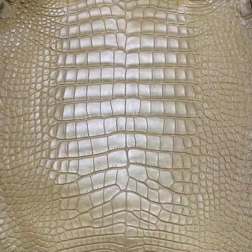 Hermes 2H Kraft 牛皮紙色 霧面美洲鱷魚 Birkin 25cm Kelly Danse