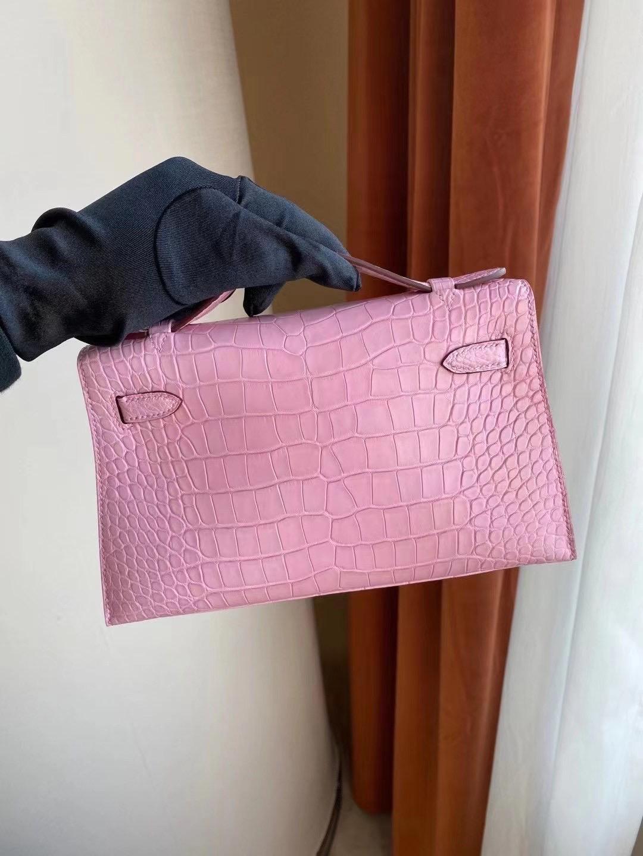 愛馬仕迷你凱莉包價格 Hermes MiniKelly Pochette 5P pink 櫻花粉 霧面方塊 美洲鱷魚