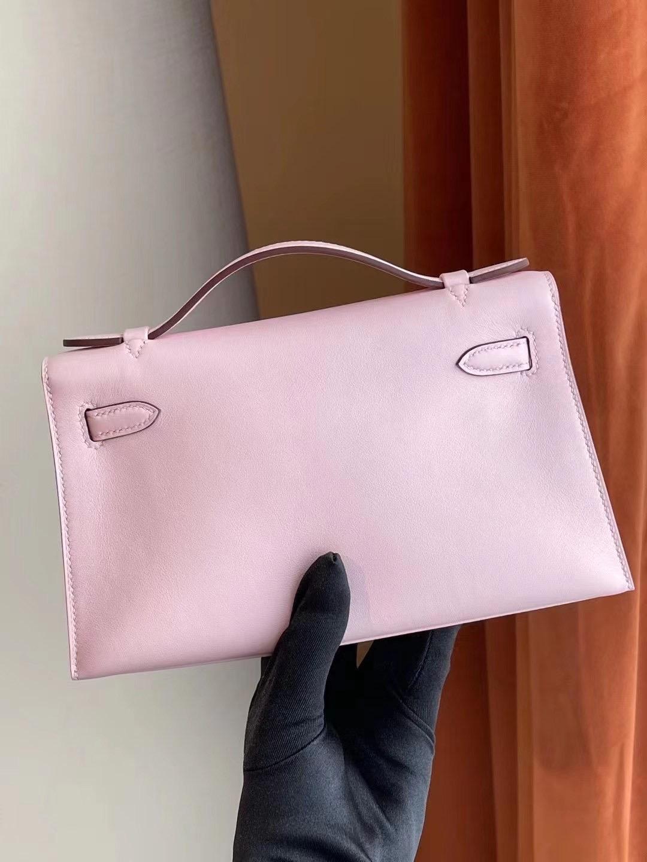 愛馬仕迷你凱莉包價格 Hermes MiniKelly Pochette Swift 3Q Rose Sakura
