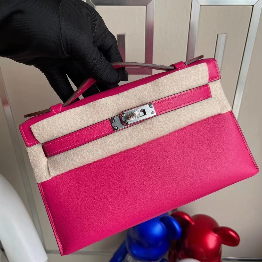 愛馬仕迷你凱莉包價格 Hermes MiniKelly Pochette Swift 0D Rose Mexico 墨西哥粉