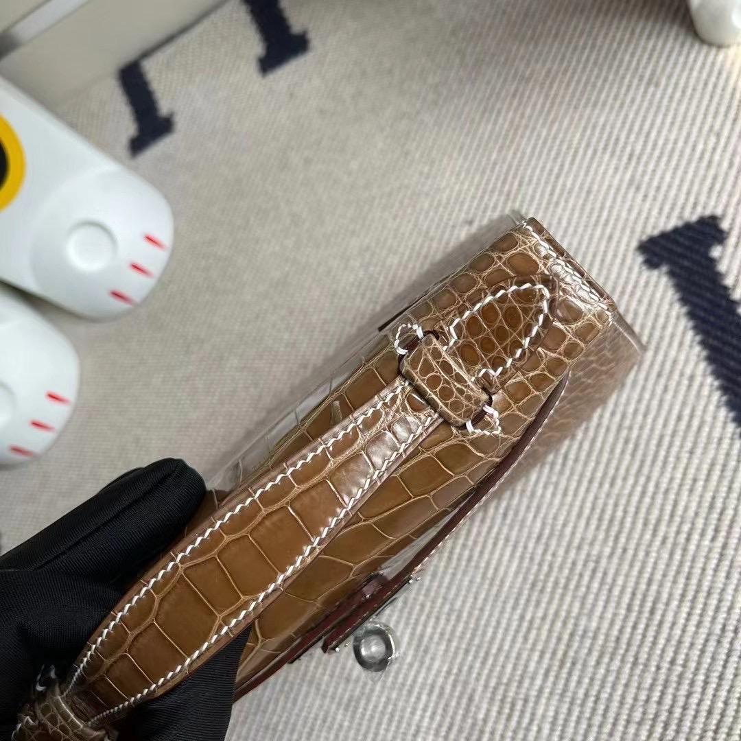 Hermes Mini Kelly Pochette 亮面美洲鱷魚 17 Ficelle 淡灰褐色 煙草色