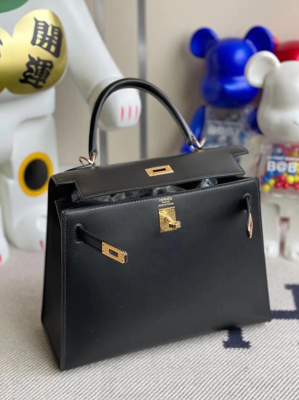 愛馬仕凱莉包25寸官方價格 Hermes Kelly 25cm BOX 89 Black 黑色 金扣