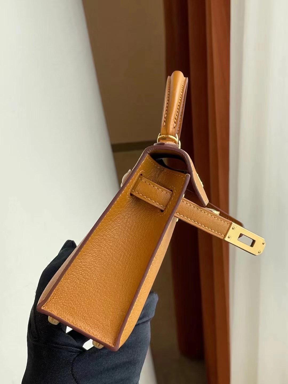 愛馬仕凱莉包二代迷你 Hermes Kelly Mini II Chevre 2S sesame 芝麻色 金扣