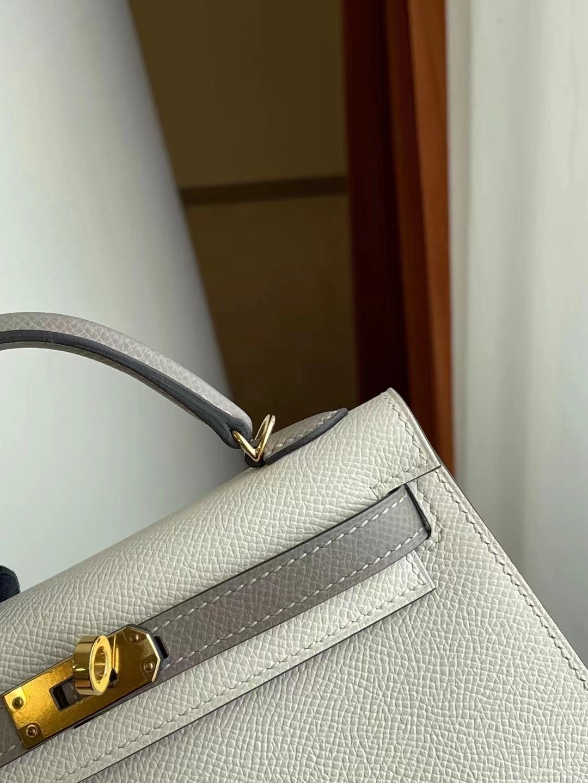 Hermes kelly mini II 2代 Epsom 10 Craie M8 Griss Asphalte 全手工縫製 金扣