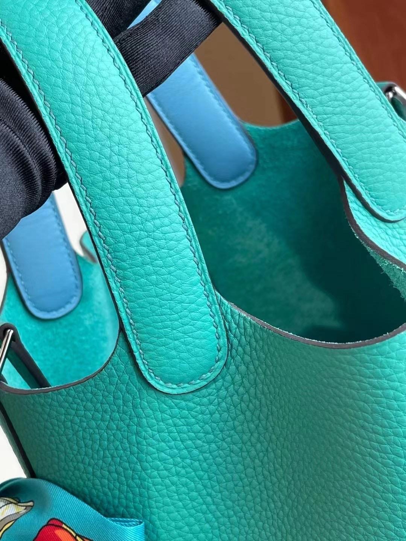 Hermes Picotin Lock 18 Clemence U1 Vert Verone 維羅納綠 拼 P3 Bleu Du Nord