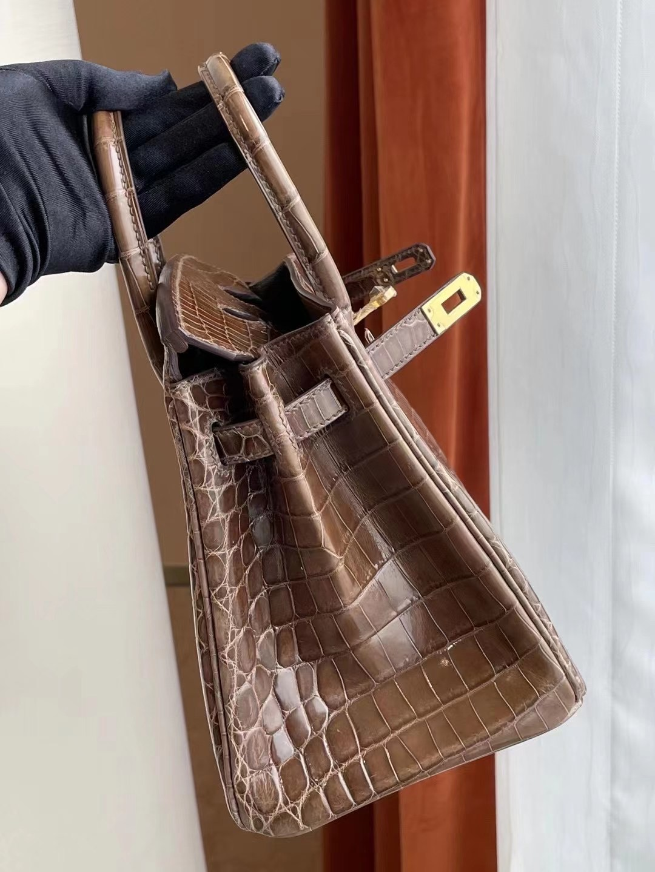 愛馬仕鉑金包25寸價格 Hermes Birkin 25cm 深灰色 金扣 亮面尼羅鱷魚