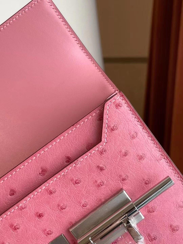 Hermes Verrou Mini Ostrich L4 Rose bubblegum 泡泡粉 禦用原廠KK 南非鴕鳥皮