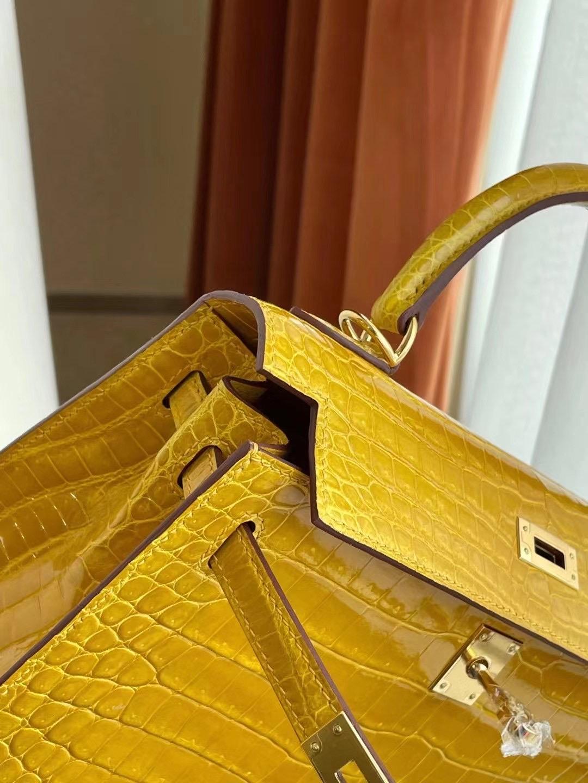 愛馬仕凱莉包25寸價格 Hermes Kelly 25cm 9D 琥珀黃 Amber 亮面灣鱷