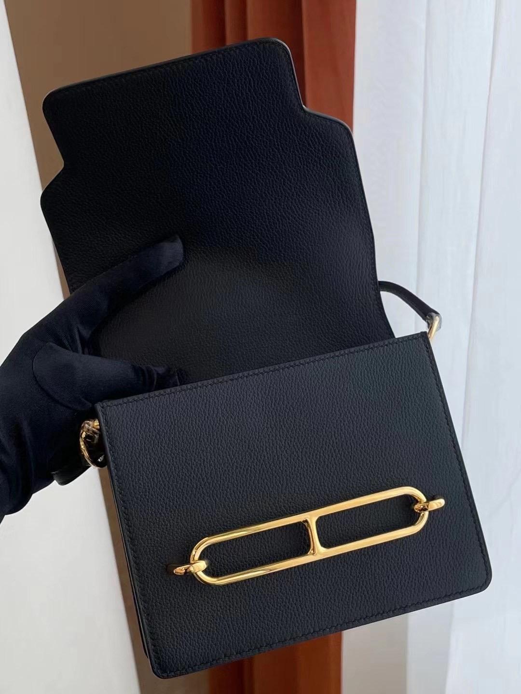 愛馬仕 豬鼻子包包價 Hermes Roulis Mini 18 Everycolor 89 Noir 黑色 金扣