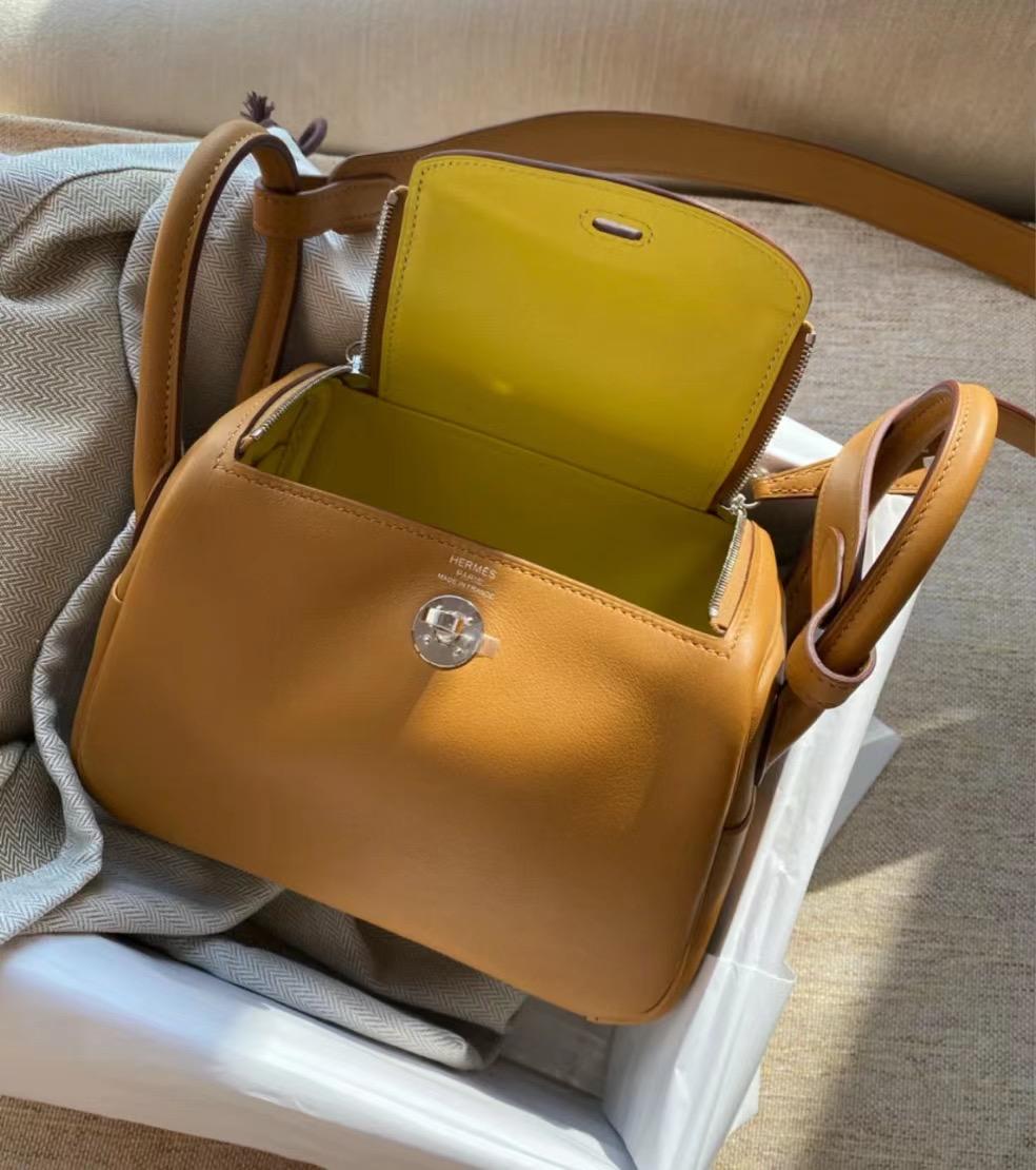 Hermes Lindy Mini Swift 2S Seasme 芝麻色 內拼 9R Lime 檸檬黃