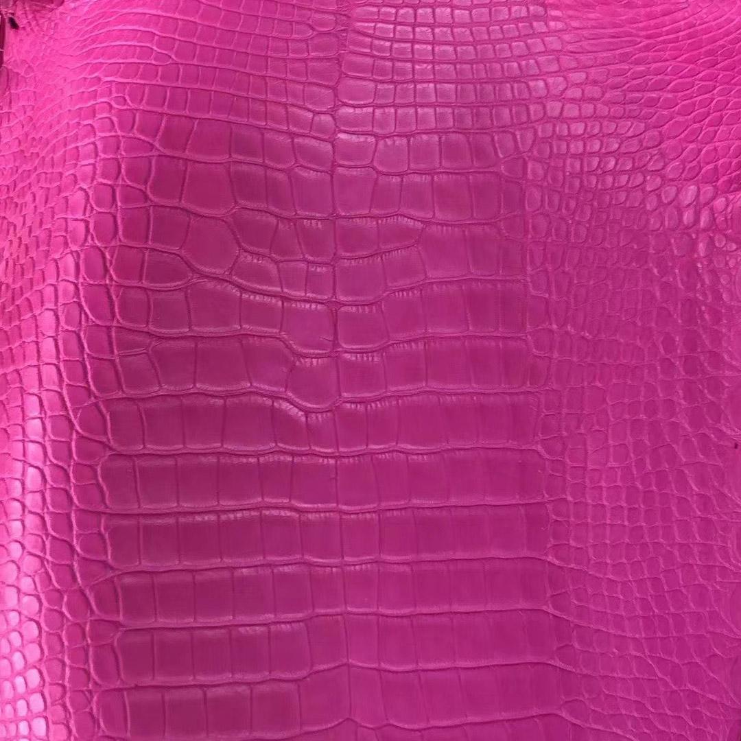 Hermes 5R Rose Shocking 熒光粉色 Matte alligator crocodile 霧面美洲鱷魚