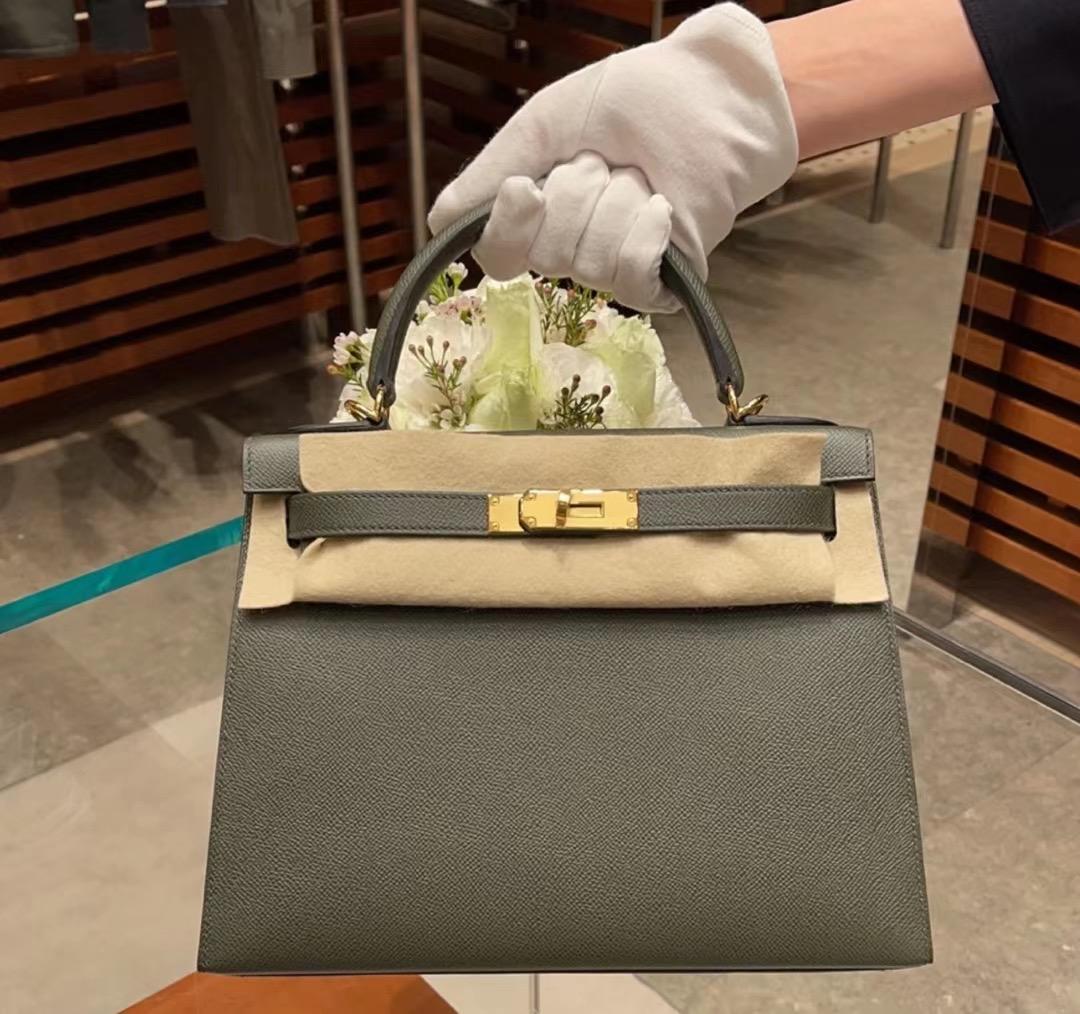 愛馬仕凱莉包2021新色 Hermes Kelly 28 Epsom C6 Vert De Gris 灰綠色 接受定製