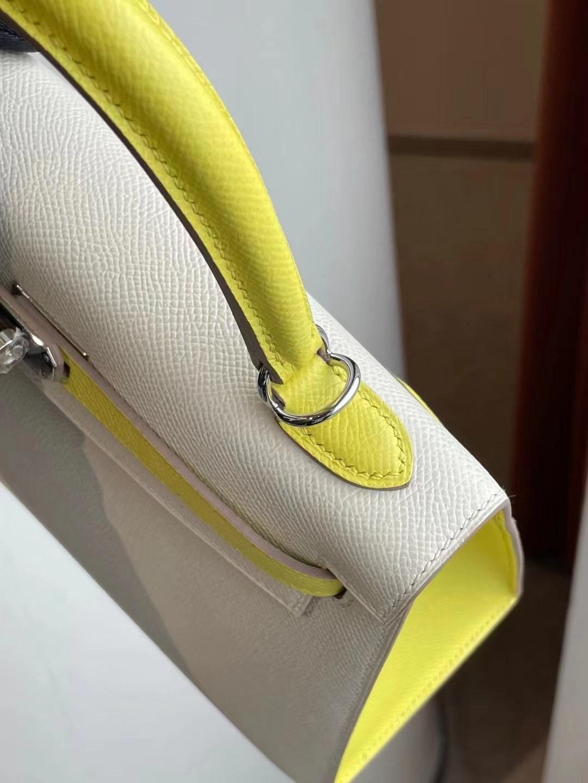 Hermes Kelly 25cm Hss Epsom CK10 Craie 奶昔白 拼 9R Lime 檸檬黃 銀扣