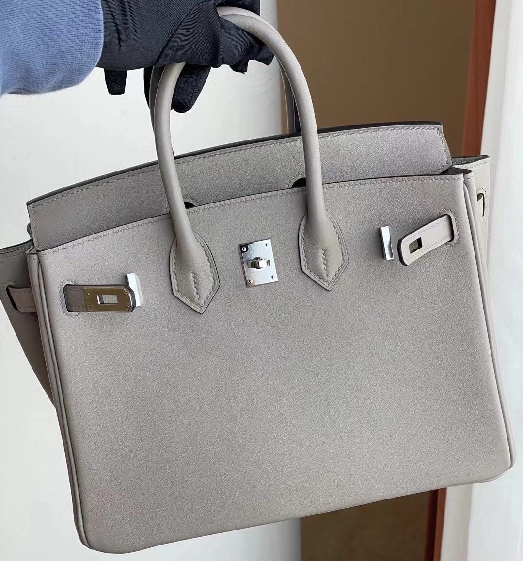 愛馬仕鉑金包25寸價格 Hermes Birkin 25cm Swift M8 瀝青灰 Gris Asphalte 銀扣