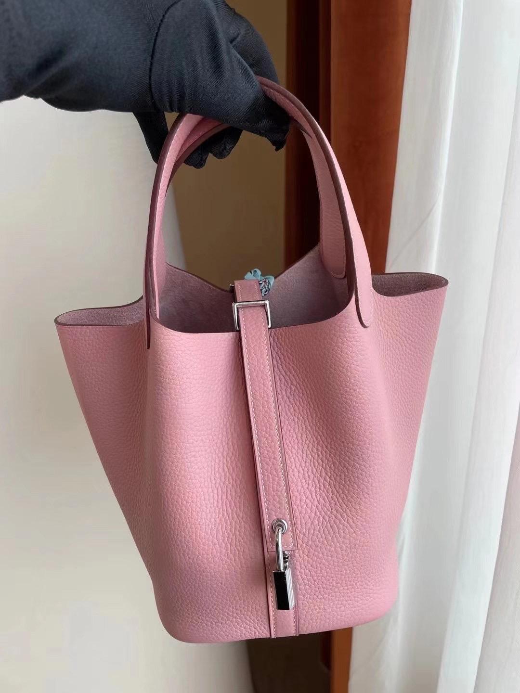 Hermes Picotin Lock 18 taurillon Clemence 3Q Rose Sakura 櫻花粉