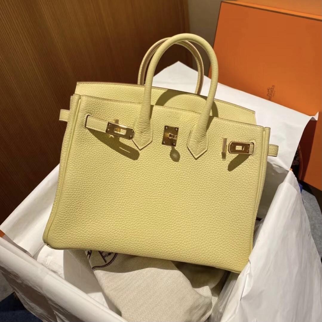愛馬仕鉑金包基本款價格 Hermes Birkin 25cm Togo 1Z 小雞黃 jaune poussin