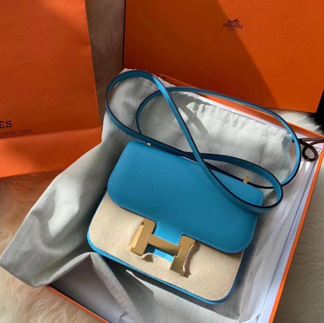 愛馬仕康康19售價 Hermes Constance 19 Everycolor P3 Bleu Du Nord 北方藍