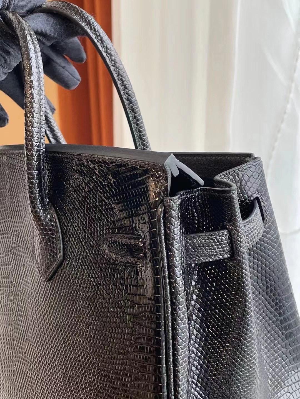 愛馬仕鉑金包25寸專櫃價格 Hermes Birkin 25cm 89 Noir 黑色蜥蜴皮
