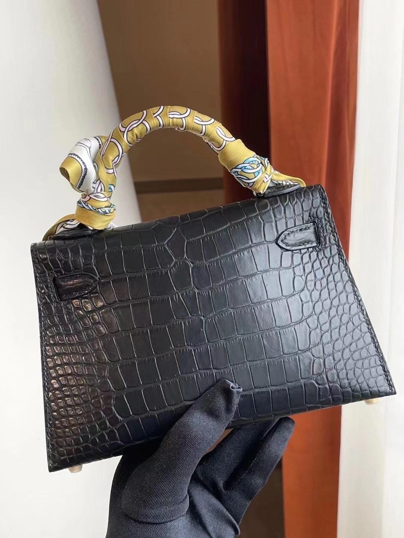 Dubai Hermes Kelly Mini II Matte Mississippiensis Alligator 89 Noir 黑色