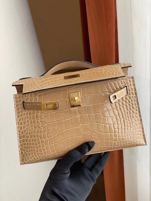 Dubai Hermes MiniKelly Pochette 14 Beige 杏色 亮面美洲鱷魚