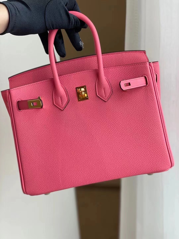 Los Angeles USA Hermes Birkin 25cm Togo 8w Rose Azaiee 新唇膏粉 金扣