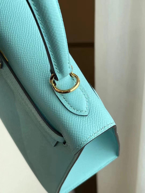 New York USA Hermes Kelly 25 Epsom 3P Blue Atoll 馬卡龍藍 內拼 櫻花粉