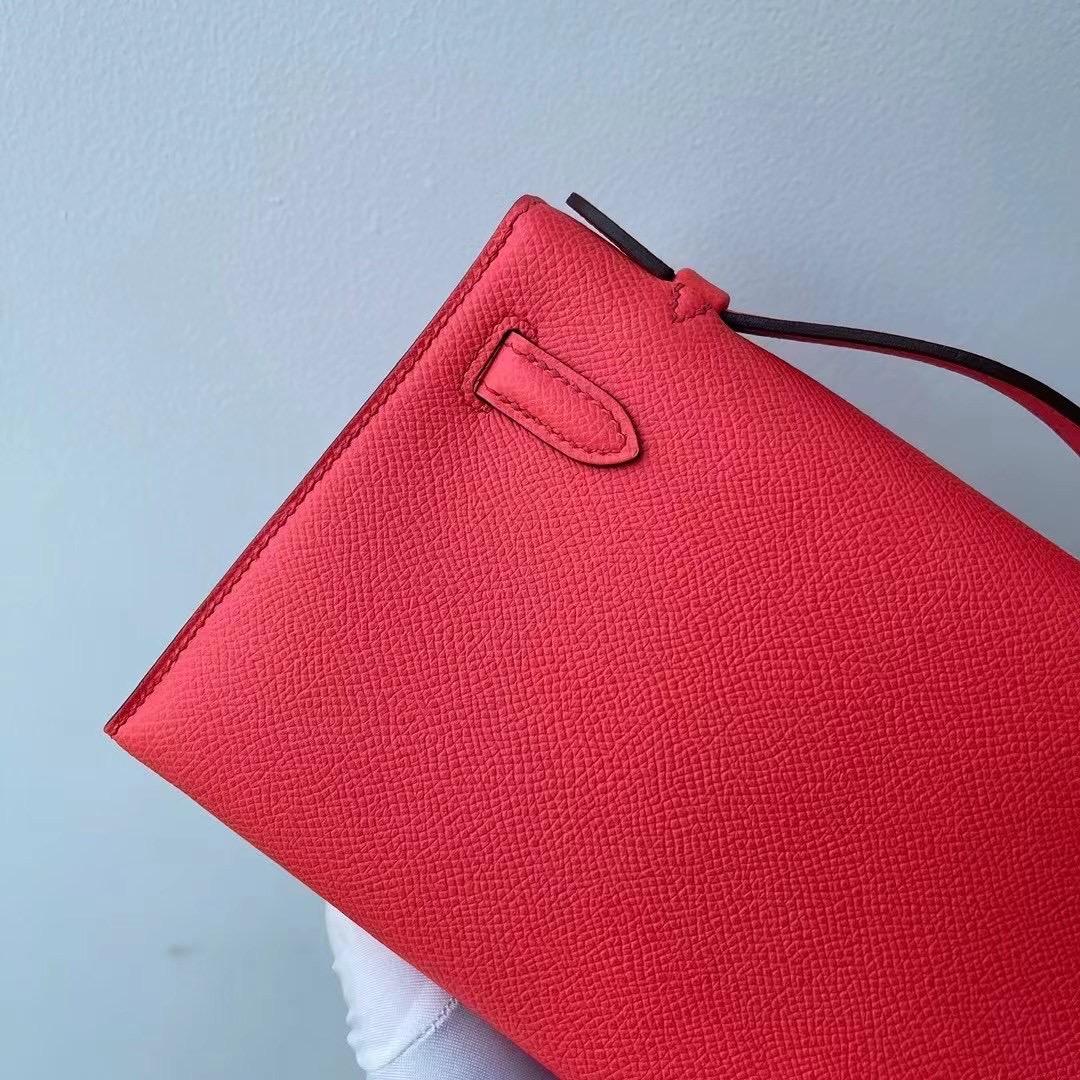 Saudi Arabia Hermes MiniKelly Pochette Epsom 0E Rose Texas 德克薩斯粉