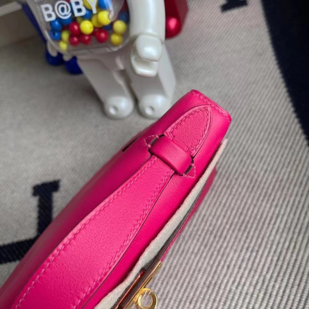 Britain Hermes MiniKelly Pochette Swift 0D 墨西哥粉 Rose Mexico
